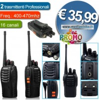 COPPIA RICETRASMITTENTI WALKIE TALKIE BF-888S BATTERIE INCLUSE PMR446