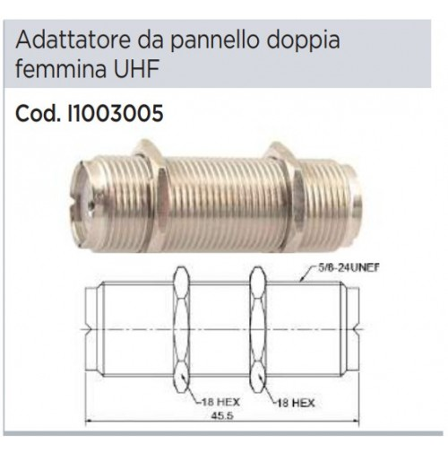 CONNETTORE ADATTATORE DA PANNELLO DOPPIO SO239 CON FERMO A DADI