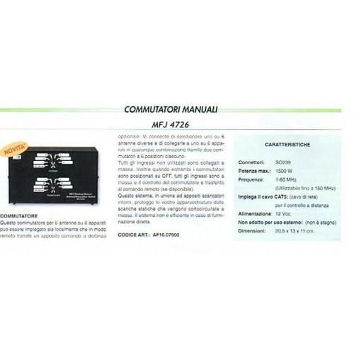 MFJ-4726 COMMUTATORE DI ANTENNA 6+6 POSIZIONI