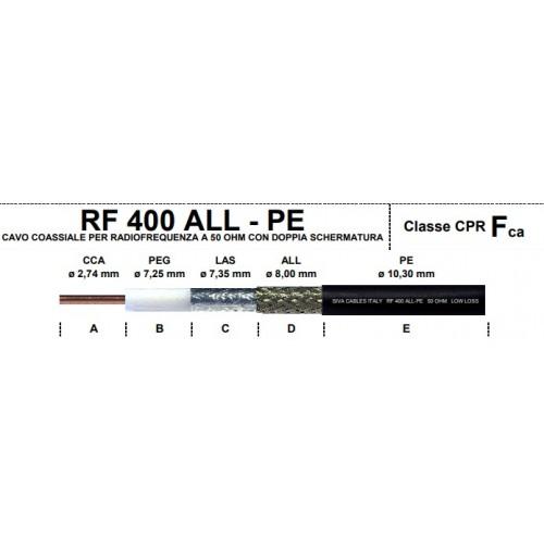 SIVA RF 400 ALL-PE 10,3 mm CAVO BASSA PERDITA DOPPIO SCHERMO