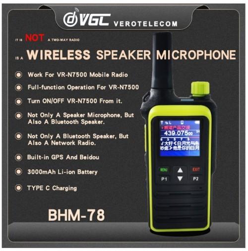 VGC BHM-78 Microfono Wireless per  VR-N7500 con speaker BT con GPS