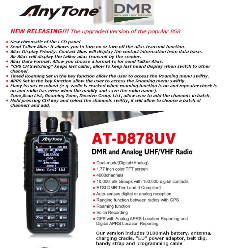 Anytone AT-D878UV Radio Anytone D878UV Dualband DMR/FM con VFO & ROAMING